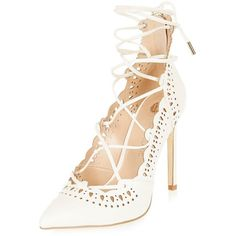 River Island White laser cut lace-up heels ($43) ❤ liked on Polyvore featuring shoes, pumps, white pointy toe pumps, white pumps, white stiletto pumps, pointed toe pumps and stiletto pumps
