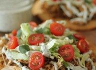 Crockpot Chicken Ranch Tostadas. These were super good. I tried it last week. The chicken can be used in so many ways.