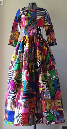 African Wax Print Genuine Patchwork Maxi Dress With Pockets, Sleeves and Optional Sash African Wax Print Genuine Patchwork Maxi Dress With Pockets, Sleeves and Optional Sash African Print Dresses, African Print Fashion, African Fashion Dresses, African Dress, Fashion Prints, Fashion Outfits, African Prints, Dress Fashion, African Attire