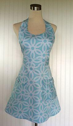 Full Stylish Modern Hostess Apron Aqua Turquoise