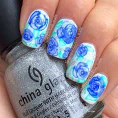 "Watercolor Roses nail art by Amanda ""Sparklicious Nails"""