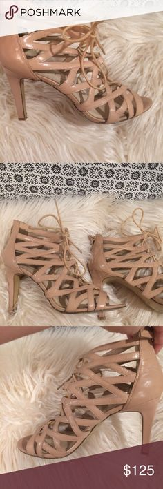 """Nude crisscross 3"""" sandle Nude 3 inch heel gladiator crisscross sandle nude in color goes well with any outfit and nude shoes make you appear taller. Nine West Shoes Sandals"""