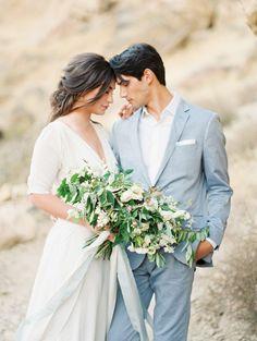 Groom Style // Blue suit for a Beach Wedding