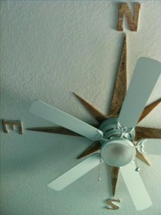 I made a nautical star on the ceiling around the fan using pallet wood. Great Idea for a Social Studies classroom!