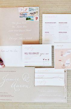 Modern Romantic Destination Wedding Invitations by Made by Kara via Oh So Beautiful Paper (2)
