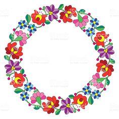 Kalocsai výšivka v kruhu - Maďarská ľudová kvetinovým vzorom royalty-free stock vektor