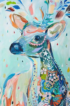 by Starla Michelle Halfmann -deer Art Inspo, Painting Inspiration, Art Amour, Art Et Illustration, Art Design, Mosaic Art, Oeuvre D'art, Love Art, New Art