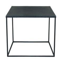 Mesa baja industrial de metal negro con efecto envejecido An. 45 cm