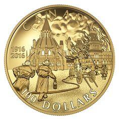 14-karat Gold Coin – Centennial of the Parliament Buildings Fire – Mintage: 1,500 (2016)