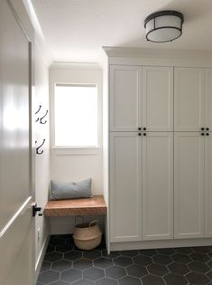 Mudroom Storage Maximize mudroom space with White shaker door fronts for IKEA cabinets from Semihandmade Mudroom Cabinets, Mudroom Laundry Room, Ikea Cabinets, Ikea Laundry Room Cabinets, Ikea White Kitchen Cabinets, Bench Mudroom, Ikea Kitchen Remodel, White Shaker Kitchen, White Cabinets
