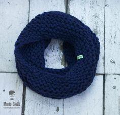 Купить Снуд вязаный из мериносовой полушерсти темно-синего цвета - однотонный, мериносовая шерсть
