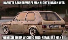 Motto Liebe Dein Auto 1974 Golf 1 MK1 rust lowrider ATS wheels Rost Tieferlegung Oldschool Rat Ratte