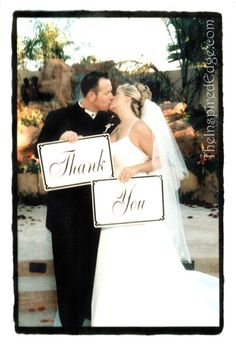 This was a cute idea one of my couple's had for Thank You cards to send to guests. The bride made the signs.  TheInspiredEdge.com