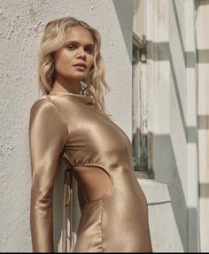 Long Sleeve Midi Dress, High Neck Dress, Australian Fashion, Gold Dress, Leather Pants, Backless, Model, How To Wear, Dresses