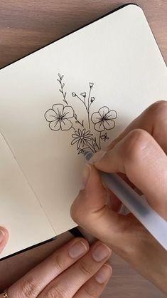 Bullet Journal Lettering Ideas, Bullet Journal Writing, Bullet Journal Themes, Bullet Journal Inspiration, Bullet Journals, Art Drawings Sketches Simple, Pencil Art Drawings, Easy Drawings, Drawings Of Flowers