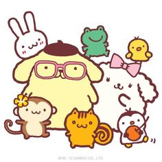 Pom Pom Purin wearing glasses with Macaroon and friends