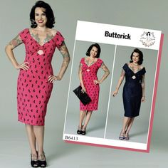 Vintage / Retro Style Butterick Sewing Pattern by Gertie - B6413 Misses' Gathered-Front, Keyhole Dress … WeaverDee.com