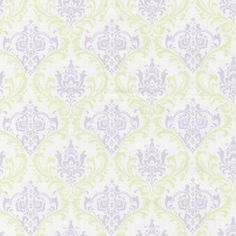 Lilac Damask Fabric by The Yard | Discount Purple and Green Damask | Carousel Designs $7.50