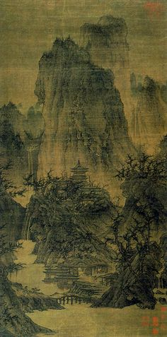 Buddhist temple amid clearing moutain peaks- attributed to Li Cheng (919-967). five dynasties. hanging scroll.