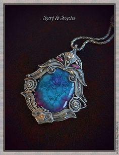 """Кулоны, подвески ручной работы. Ярмарка Мастеров - ручная работа. Купить Кулон """"Синий цветок Вселенной"""". Handmade. Синий"""