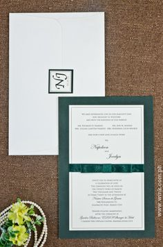 Executive | Written in Ink #wedding #invitation #winkinvitations #formal #green #ribbon #layered Green Ribbon, Wedding Invitations, Ink, Writing, Formal, Preppy, Wedding Invitation Cards, India Ink, Being A Writer