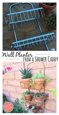 How to use a bathroom shower caddy into a shower caddy vertical planter. Perfect for small spaces, urban gardens and outdoor wall gardening. garden decor diy How to Use a Shower Caddy as a Vertical Planter Plantador Vertical, Vertical Wall Planters, Garden Planters, Outdoor Wall Planters, Diy Wall Planter, Patio Wall, Balcony Garden, Cheap Planters, Recycled Planters