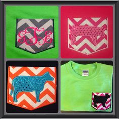Fun Pocket Tees for Livestock Girls and Show Moms! Can be made with monogram, show heifer, dairy heifer, steer, pig, lamb or goat! Custom made your way to match your style! Www.facebook.com/SassyNSavvyChic.