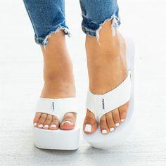 Platform Flip Flops, Flip Flop Shoes, Sandals Platform, Platform Wedge, Lace Up Heels, Wedge Heels, Soda Shoes, Retro Shoes, Sandals For Sale