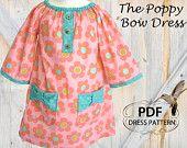 Peasant Dress, PDF sewing pattern, Girls Peasant Dress, Childrens Kids Pattern, The Poppy Bow Dress, Sizes 1 to 8