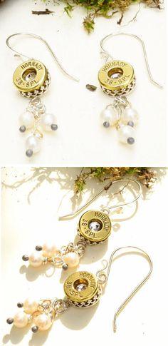 Cascading Pearls Bullet Earrings