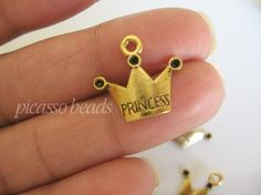 6 pcs Antique Silver Gold Tone Princess Crown by SilverCharmsShop, $1.95