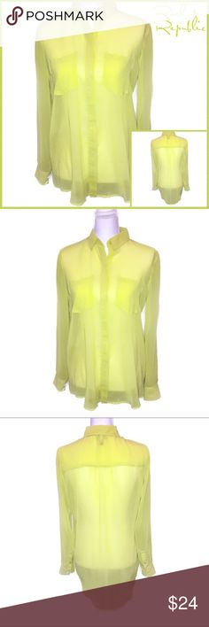 Rock & Republic Semi Sheer Hi-Low Top Size 6 Rock & Republic Semi Sheer Hi-Low Top - Lemon-Lime Citrus Color - Size 6 - *NWOT* Rock & Republic Tops Blouses