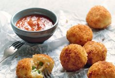 These fun, bite-sized balls are a perfect way to use leftover risotto and you can get inventive with the cheese, vegetables and meat you add to them