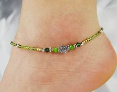 Anklet Ankle Bracelet Celtic Charm Green by ABeadApartJewelry