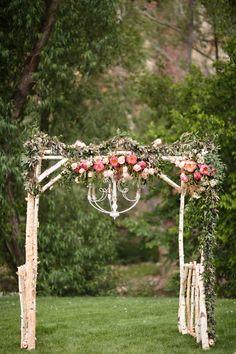 Rustic, Romantic Ceremony Arbor