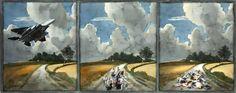 Bombardeo en un paisaje de Ruisdael
