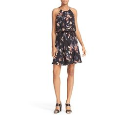 Women's Joie Makana Floral Silk Blouson Dress ($388) ❤ liked on Polyvore featuring dresses, black, blouson dress, flower print dress, floral pattern dress, floral printed dress and halter-neck dress