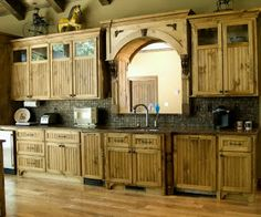 Home Improvement, Kitchen Pine Cabinet Doors: Naturally Beautiful: Cool Designs Of Country Style Kitchen Pine Cabinet Doors Kitchen Cabinets Design Layout, Pallet Kitchen Cabinets, Distressed Kitchen Cabinets, Pine Cabinets, Country Kitchen Cabinets, Rustic Country Kitchens, Kitchen Redo, Kitchen Remodel, Cupboards
