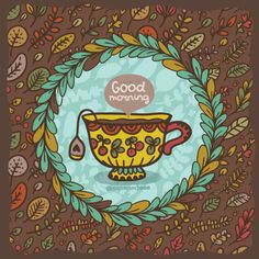 #goodmorning ! Have a nice #day #morning ) #autumn #leaves #illustration #drawing #tea #Vector #kostolom3000
