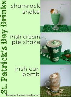 Family friendly drinks to serve for St. Patrick's Day...Shamrock Shake, Irish Cream Pie Shake and Irish Car Bomb:: Recipes on HoosierHomemade.com