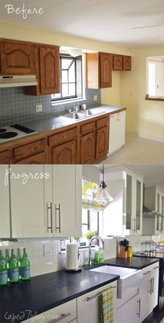 Kitchen Makeover with Soapstone Counter Tops, Adelle Cabinets and Paint Color Change.