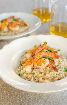 Try treating the One You Love to a lovely Valentine's Dinner at home. A gift from the Heart!Recipe: Parmesan Risotto with Roasted Shrimp — Recipes from The Kitchn Shrimp Recipes, Fish Recipes, New Recipes, Cooking Recipes, Favorite Recipes, Recipes Dinner, Shrimp And Scallop Recipes, Picnic Recipes, Picnic Foods