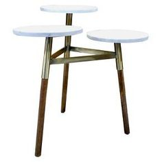 $73 on sale - The 3 Tier Accent Table - Marble/Gold - Threshold is a unique combination of steel, marble and wood. The steel frame supports three stunning marble tops on wood legs. Natural variations in the color and veining of marble make each piece subtly unique. A dramatic presence for a small table that will blend ea...