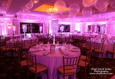 Lavender Bat Mitzvah Lavender Bat Mitzvah with Uplighting, Clear Ceiling Balloons & Chandelier Centerpieces at Nyack Seaport Balloon Chandelier, Chandelier Centerpiece, Centerpieces, Bat Mitzvah Themes, Bar Mitzvah Party, Bubble Balloons, Big Balloons, Quinceanera Decorations, Balloon Decorations