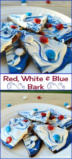 Red, white and blue bark is made with candy melts and semi sweet chocolate and topped with colorful chocolate candies. This easy no-bake summer treat is perfect for Memorial Day, Fourth of July or any patriotic holiday!