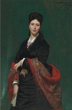 Charles Emile Auguste Carolus-Duran:  Portrait of Madame Marie Clerc (1874)