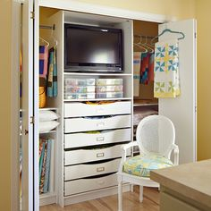 Discover a crafty way to organize fabrics, craft supplies, and more with Home Options closet organizer kits.