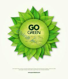 Green leaf environmental poster design vector