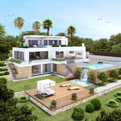 20 most popular modern dream house exterior design ideas 17 « Diy Best Garden Deko Dream Home Design, Modern House Design, Luxury Modern House, Big Modern Houses, Luxury Villa, Future House, My Dream House, Casas The Sims 4, Dream Mansion