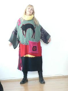 Colourful fantasy patchwork sweaters poncho hippie